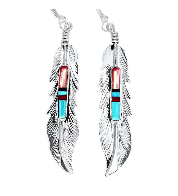 USA Made!!! BY Navajo Artist Freddy Barney: Hand crafted Sterling silver & treated Natural stone earrings - C511CQZSNR1