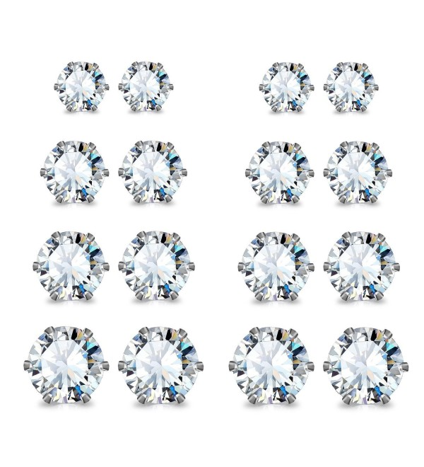 JewelrieShop Stainless Steel Zirconia Earrings - 01. White + White CZ - C811IIP500V