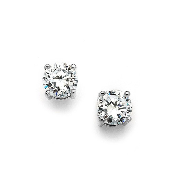 Mariell 2 Carat Round-Cut CZ Stud Earrings - 8mm Solitaire Cubic Zirconia Studs - Genuine Platinum Plated - C811ZPBBHWB