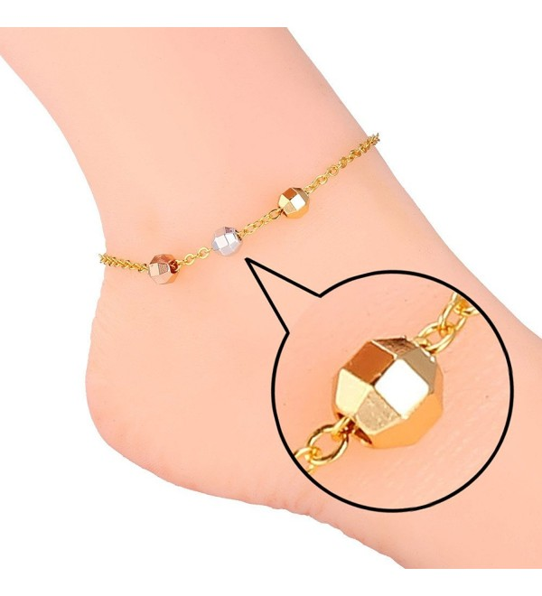 U7 Foot Jewelry 3 Tone Rose Gold & Platinum & 18K Gold Plated Chain Anklet - CM125FTYXMN