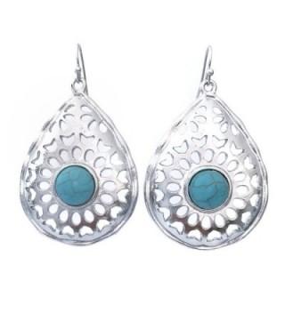 Teardrop Western Look Blue Simulated Turquoise Silver Tone Southwestern Dangle Earrings - CJ121HHTQVF