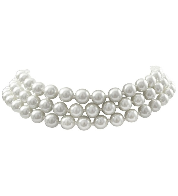 "Isaac Kieran Rhodium Finish 8-mm White Faux Pearl 3-Strand Choker Necklace- 14+3"" Extender - CH12OCNDT2F"