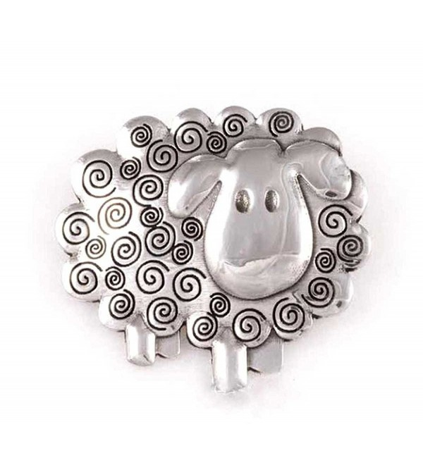 St Justin- Pewter Swirly Sheep Brooch - CP11NIVLMDT