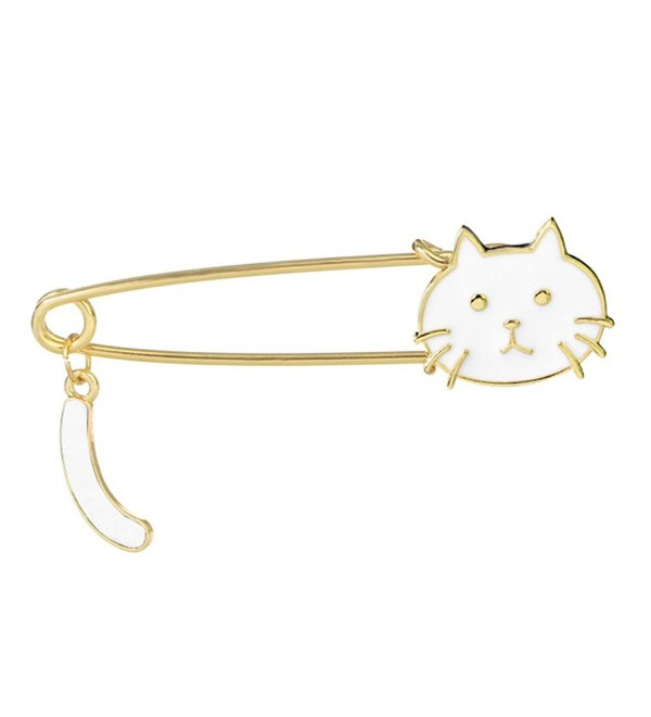 Cute Cat Sweater Pin Suit Party Brooch for Women and Men - White - CM185DRZNY6