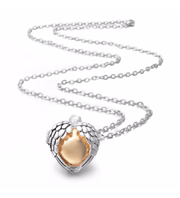 "EUDORA Harmony Bola Necklace Angel Wing 18mm Music Chime Ball Cage Pendant - 30"" Sweater Chain - Gold Ball - CJ12O7SSCTU"