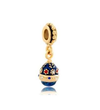 LovelyJewelry Clear White Sapphire Birthstones Flower Easter Faberge Egg Dangle Beads For Bracelets - CY11TC1C2GF