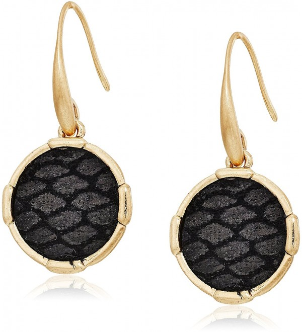 The SAK Inlay Circle Drop Earrings - Black/Gold - CT182LOWDA3