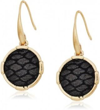 The SAK Inlay Circle Drop Earrings - Black/Gold - CT182LOWDA3