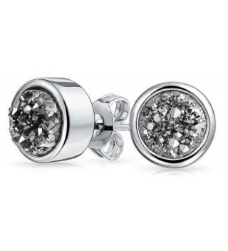 Bling Jewelry Dyed Gray Druzy Quartz Stud earrings Rhodium Plated 8mm - CG12L94RS5R