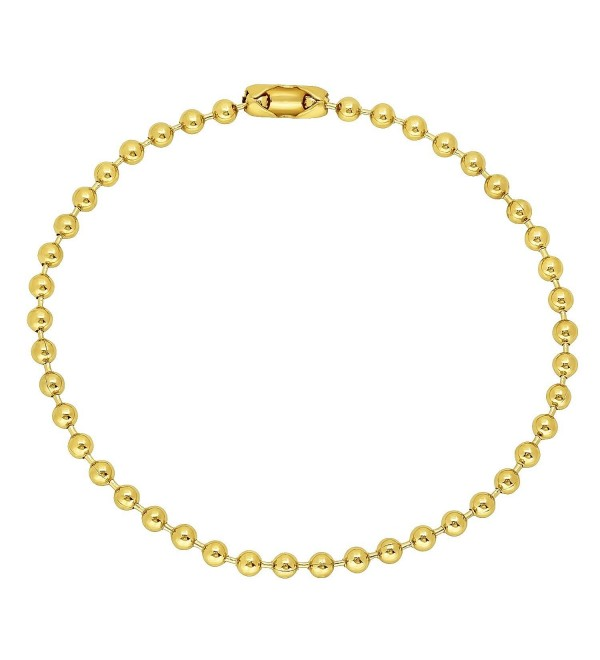 "2.3mm-6.5mm 14K Yellow Gold Plated Military Ball Bead Bracelet Anklet 7"" 8"" 9"" + Bonus Cloth - C512O8K7JXK"