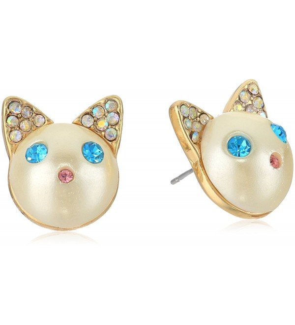 Betsey Johnson Womens Blue and Gold Cat Stud Earrings - Blue - CT185UKATXD