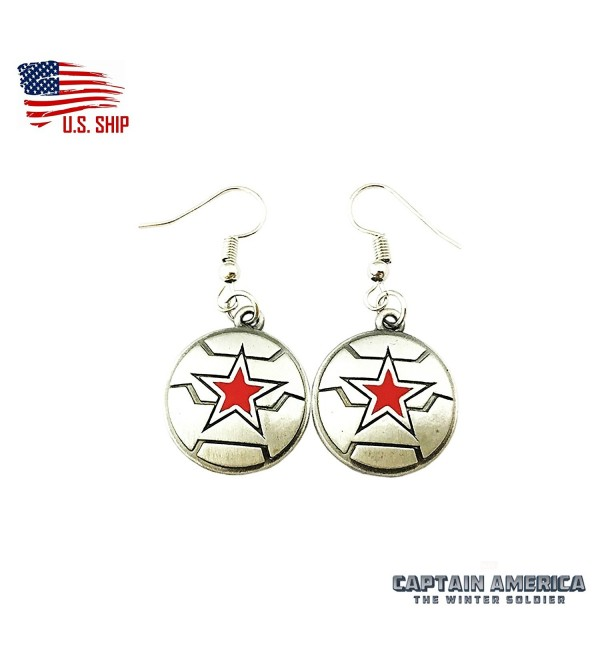 The Winter Soldier Marvel Silver Tone Cartoon Comic Logo Dangle Earrings w/Gift Box by Superheroes - C4184IMW4AI