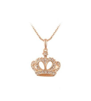 YEAHJOY Women's Princess Crown Pendant Necklace 3 Lays Rose Gold/Platinum Plated With Austrain Crystals - C617YR34Y32