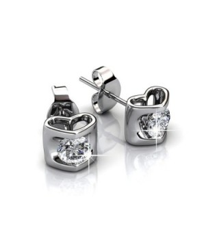 FAPPAC 1 Stones Heart Stud Earrings Enriched with Swarovski Crystals - CU1820UCRGT