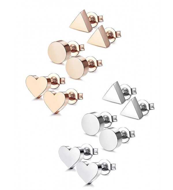 Udalyn 3-6 Pairs Stainless Steel Earrings Heart Earrings Round Triangle Stud Earring Set For Men Women - C4188NYDCWM