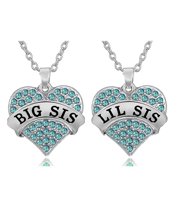 2 Piece Matching Big Sis Little Sis Split Heart Halves Sisters Necklace Jewelry Gift Set - Blue - C9187QK5E4W