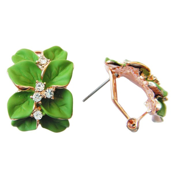 Navachi 18k Gold Plated Clear Crystal Green Enamel Leaves Flower Omega Earrings - CQ11T60WTZL