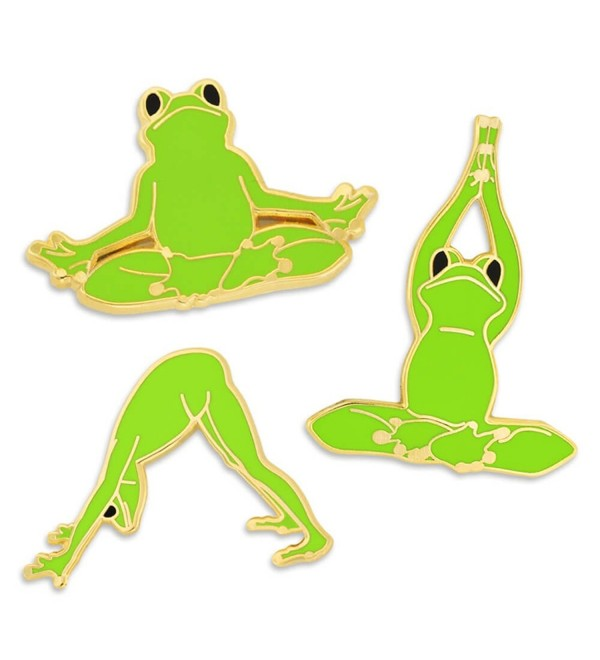 PinMart's Bright Green Namaste Yoga Frogs Trendy Enamel Lapel Pin Set - CH185XD3O3C