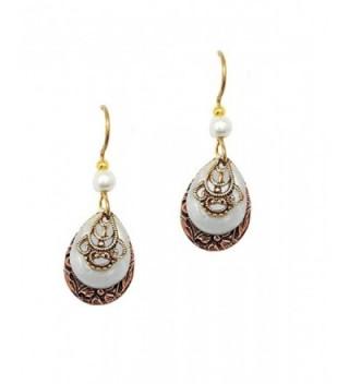 Silver Forest Petite Copper Teardrops with Pale Green Open Teardrops- Goldtone Filagree Dangle Earrings - CL11UU3X4Y3
