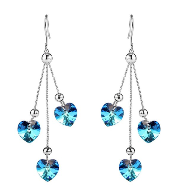 EleQueen Silver tone Earrings Swarovski Crystals - Bermuda Blue - CX12N1RBGQ7