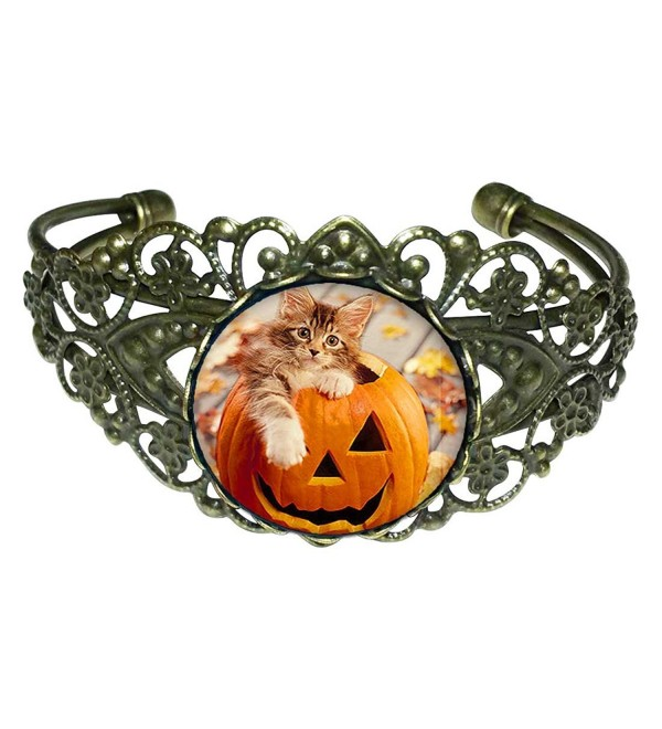 GiftJewelryShop Bronze Retro Style little cat in Halloween pumpkin Flower Cuff Bangle Bracelets - CK11QYG46ZB