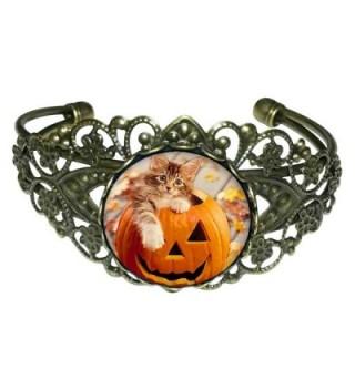 GiftJewelryShop Bronze Retro Style little cat in Halloween pumpkin Flower Cuff Bangle Bracelets - CK11QYG46ZB