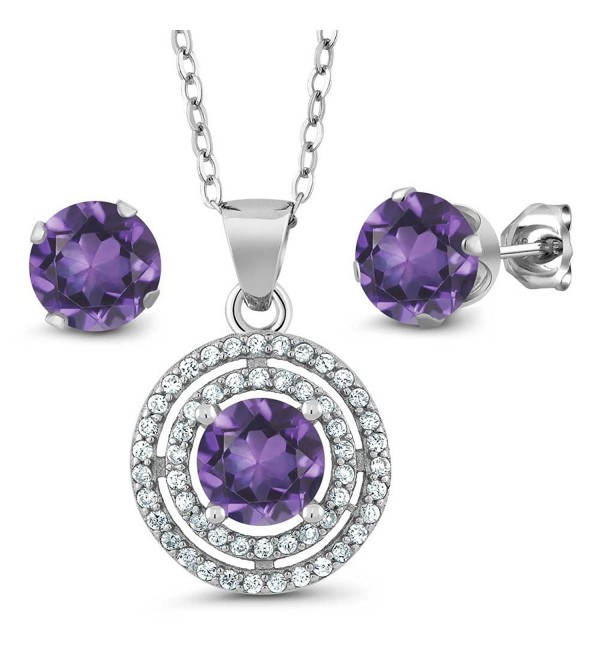 2.89 Ct Round Purple Amethyst 925 Sterling Silver Pendant Earrings Set With 18 Inch Silver Chain - CF11DIH4LXL