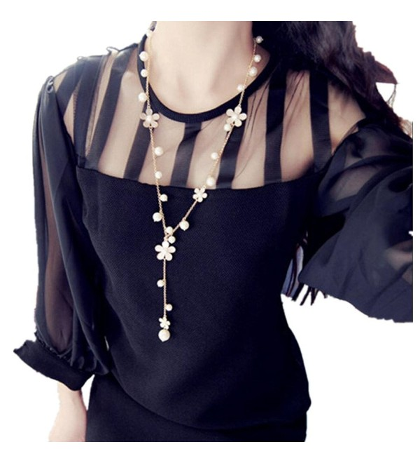 "Pendant Necklaces JUNKE Women's 28"" Pearl Flower Sweater Chain Long - CQ12LGDE859"