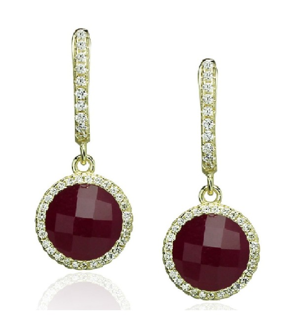 Dangle Earrings 925 Sterling Silver Gold Toned Cut Glass & Lab Stones CZ Border - by Piers Design - Ruby Jade - CV120538V9F