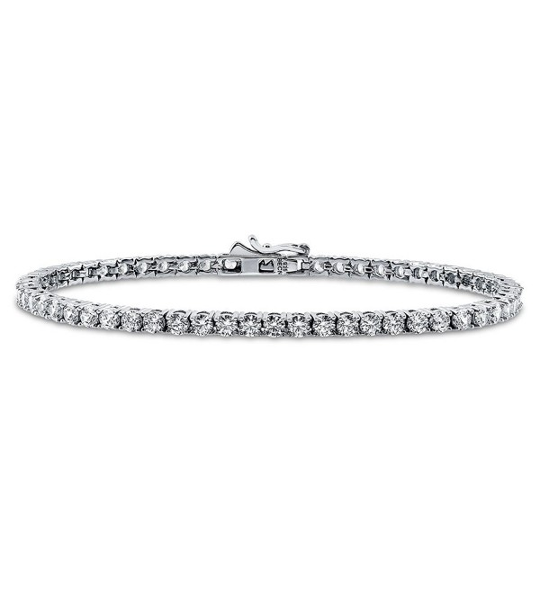 BERRICLE Rhodium Plated Sterling Silver Tennis Bracelet Made with Swarovski Zirconia - CK128GD87QD