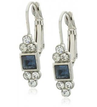 1928 Jewelry Square with Clear Crystal Accent Petite Drop Earrings - Blue - CS128X3R4C9