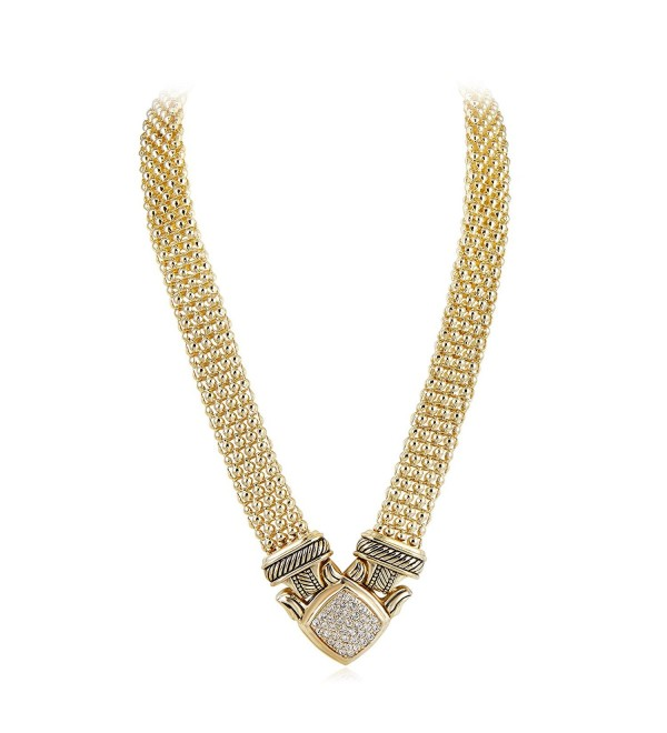 UNY Short Necklace 48cm Popcorn chain Pave Rhinestone Classic Elegant Vintage Antique Jewelry - Gold - CD18422C323