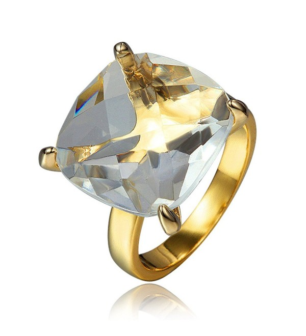 Zircon Finger Rings 18k Gold Plated Wedding Jewelry Women Accessories Statement Brand Fashion Ring - CY12IQW8OXZ