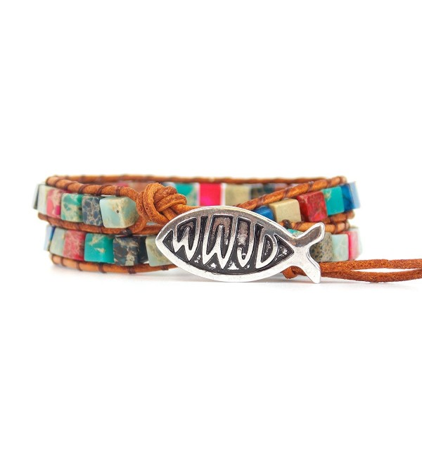 WWJD Bracelet Leather Wrap With a Mix of Rainbow Beads Pink Blue and Teal - CW183EUY36Q