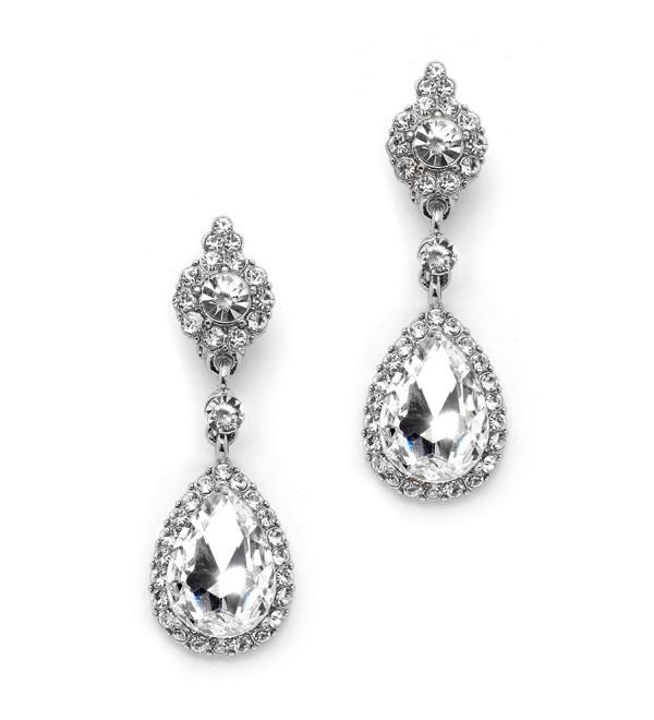 Mariell Silver Crystal Teardrop Chandelier Dangle Earrings for Weddings- Prom- Pageant & Bridesmaids - C712EM3HQMR