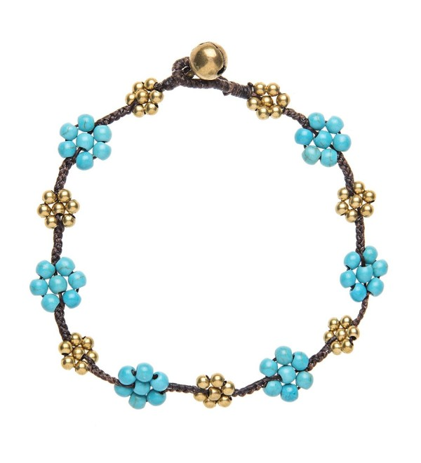 81stgeneration Women's Brass Gold Tone Simulated Turquoise Flower Bead Ankle Anklet Bracelet- 26 cm - CD114ZE2FDT