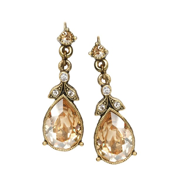 Swarovski Crystal Faceted Teardrop Simple Bridesmaids Vintage Wedding Drop Earrings - C512JXCZOX5