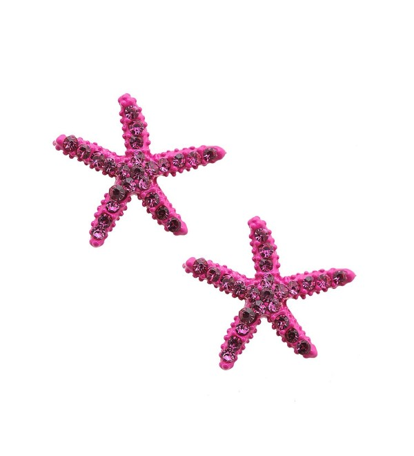 Crystal Colorful Starfish Earrings (Hot Pink Color) - CL11DMSFMWZ