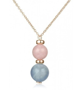 Lanfeny Rose Gold Plated 925 Sterling Silver Pendant Necklace with Natural Rose Quartz and Aquamarine - CZ182G3H04G