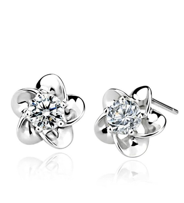 925 Sterling Silver Rose Flower Shaped Stud Earrings with White Cubic Zircon- 10mm - CM11ZDVYPMR