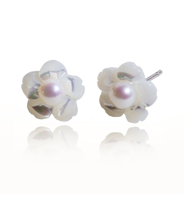 S.Leaf Sterling Silver Cherry Earrings Pearl Stud Earrings Camellia Earrings Flower Ear Studs - pearl - CA17Z7O39RU