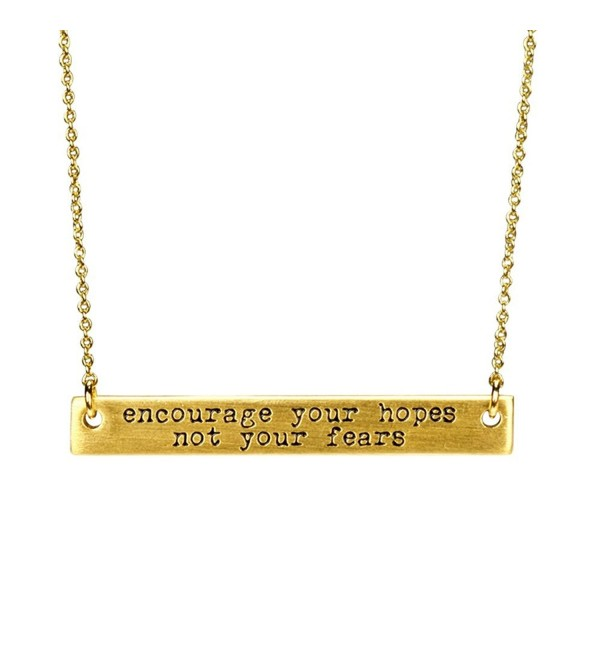 "Miraclelove Gold Chain Inspirational Necklace Handmade Brass Engraved Bar Necklace- 18"" - CM182LAREGN"