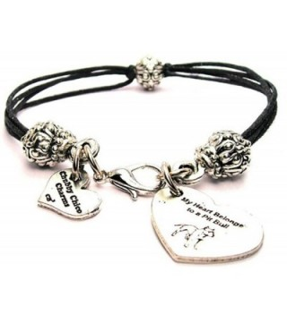 "ChubbyChicoCharms My Heart Belongs To A Pit Bull- Pewter Beaded Black Waxed Cotton Cord Bracelet- 2.5"" - CI11FWW4HXT"
