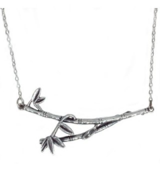 Helen de Lete Original Bamboo Knot Tree Leaf Branch Sterling Silver Collar Necklace - CP12O1EFAER