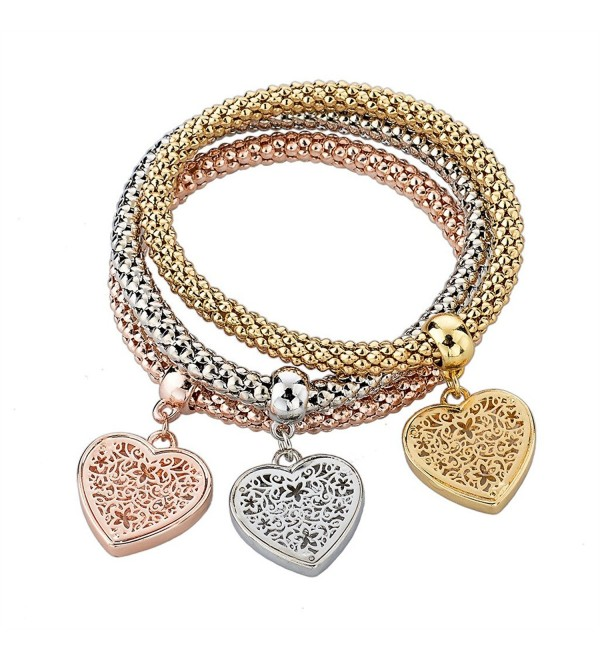 Long Way Women Gold Silver Rose Gold Plated Corn Chain Hollow Out Heart Charm Bracelet - CT11X6C6EUV