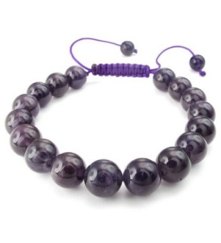 KONOV Womens Natural Gemstone Amethyst Quartz Crystal Bracelet- 7-9 inch Adjustable- Purple - C011XBYDXNZ