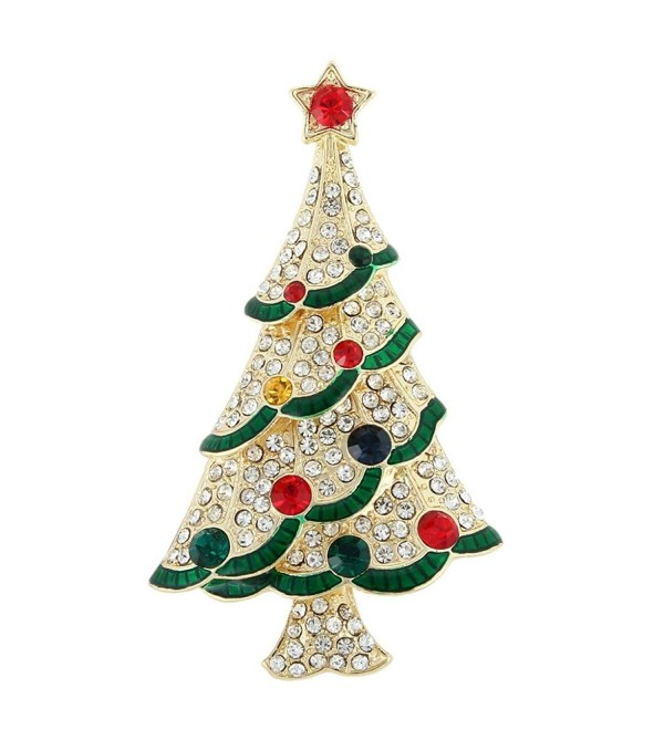 EVER FAITH Austrian Crystal Red Star Ribbon Wishing Tree Brooch Pin Multicolor - Gold-Tone - CY11QHTUXYD
