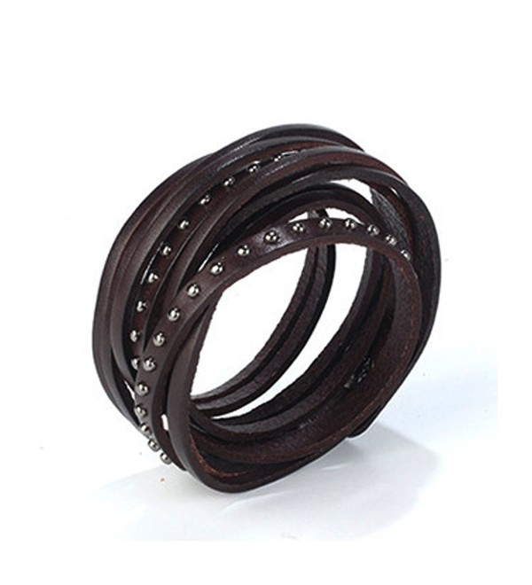 Unisex Adjustable Genuine Leather Bracelet Wide Brown Belt Cuff Bangle Handmade Jewelry By Jenia - Dark Brown - CD17YSD5Q87
