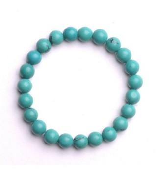 iSTONE Gemstone Beaded 8mm Bracelet Chakra Reiki Healing Stretch Bracelet 7 '' - Turquoise - CM1869CHN6H