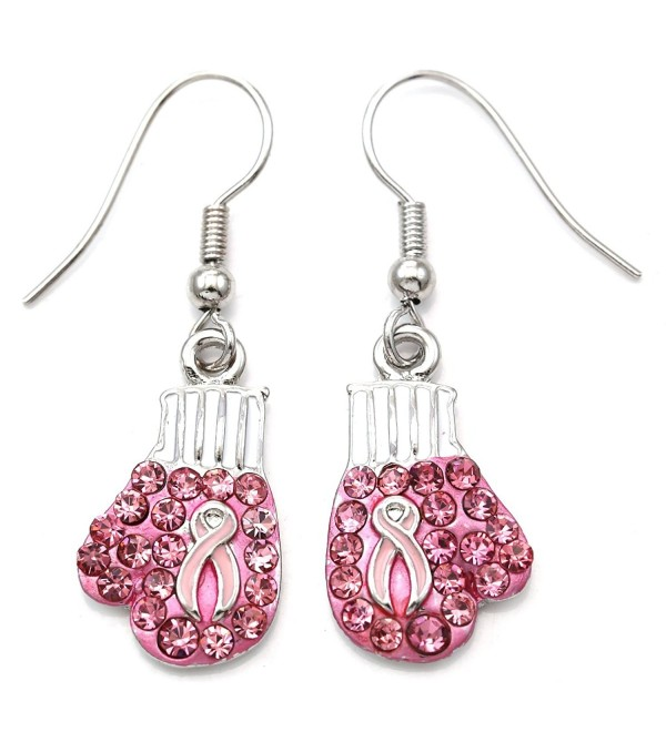SoulBreezeCollection Breast Cancer Awareness Battle Fighting Boxing Gloves Dangle Earrings - CH11CSDISC1